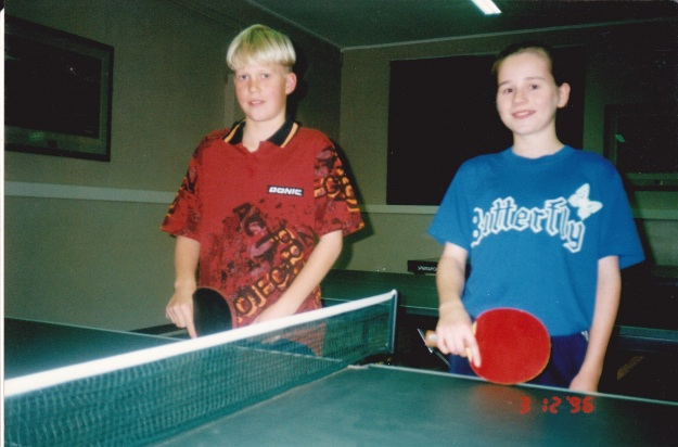 Johnny Randall and Alison Bell about to start a training session at the Victory Memorial Hall in 1996.